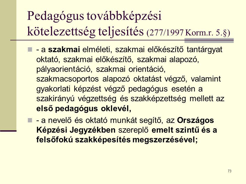 Pedagógus továbbképzési kötelezettség teljesítés (277/1997 Korm. r. 5