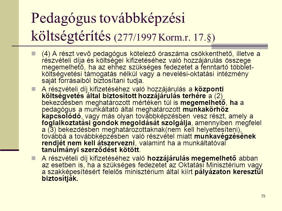 Pedagógus továbbképzési költségtérítés (277/1997 Korm.r. 17.§)