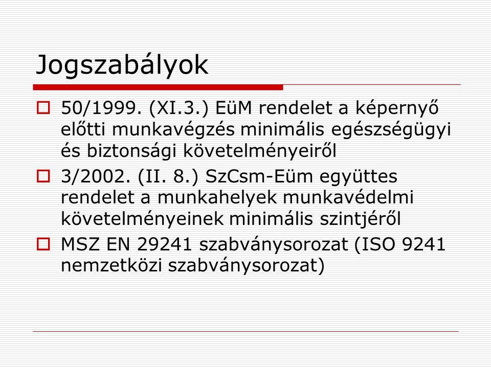 Jogszabályok 50/1999. (XI.3.) EüM rendelet a képernyő előtti munkavégzés minimális egészségügyi és biztonsági követelményeiről.