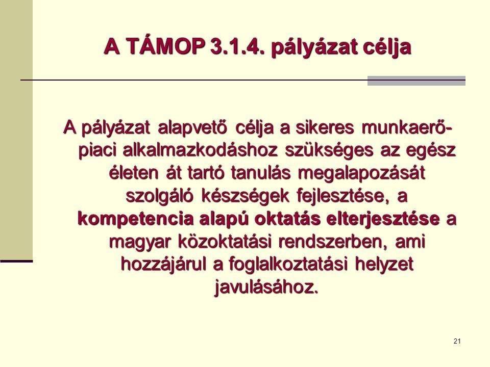 A TÁMOP 3.1.4. pályázat célja
