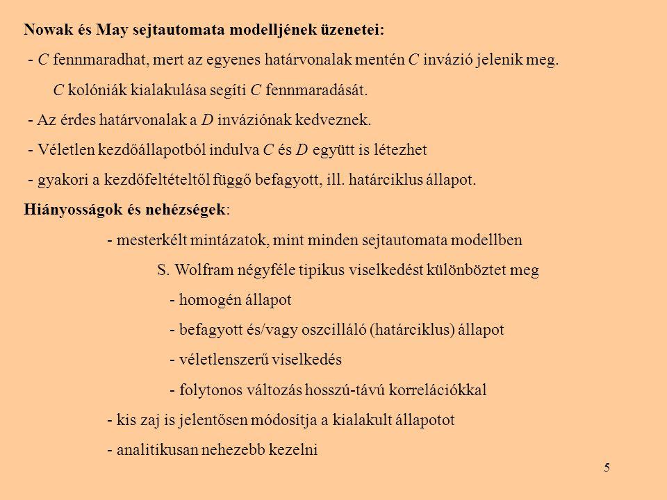 Nowak és May sejtautomata modelljének üzenetei: