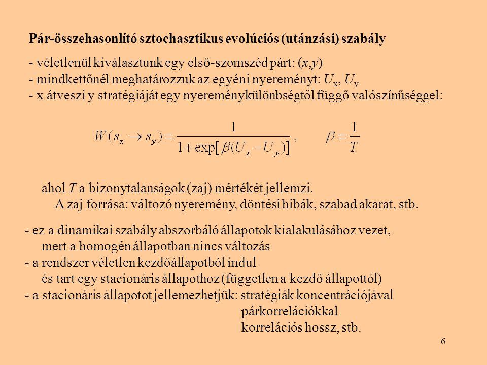 Pár-összehasonlító sztochasztikus evolúciós (utánzási) szabály
