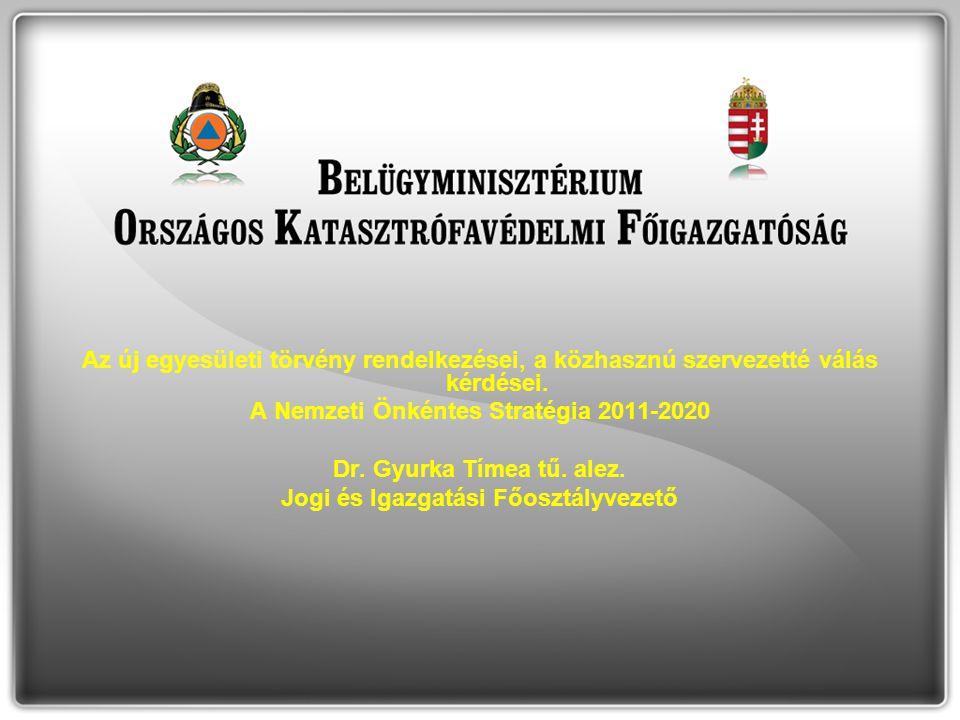 A Nemzeti Önkéntes Stratégia 2011-2020 Dr. Gyurka Tímea tű. alez.