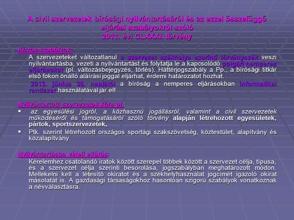 A civil szervezetek bírósági nyilvántartásáról és az ezzel összefüggő eljárási szabályokról szóló 2011. évi CLXXXI. törvény