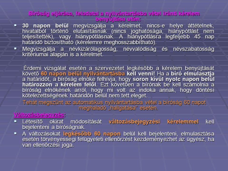 Bíróság eljárása, feladatai a nyilvántartásba vétel iránti kérelem benyújtása után: