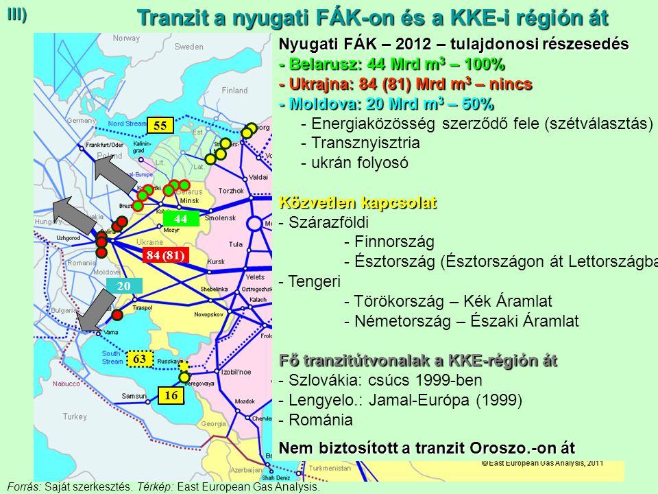 Tranzit a nyugati FÁK-on és a KKE-i régión át