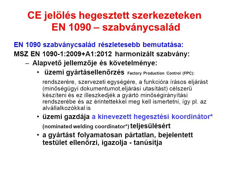 CE jelölés hegesztett szerkezeteken EN 1090 – szabványcsalád