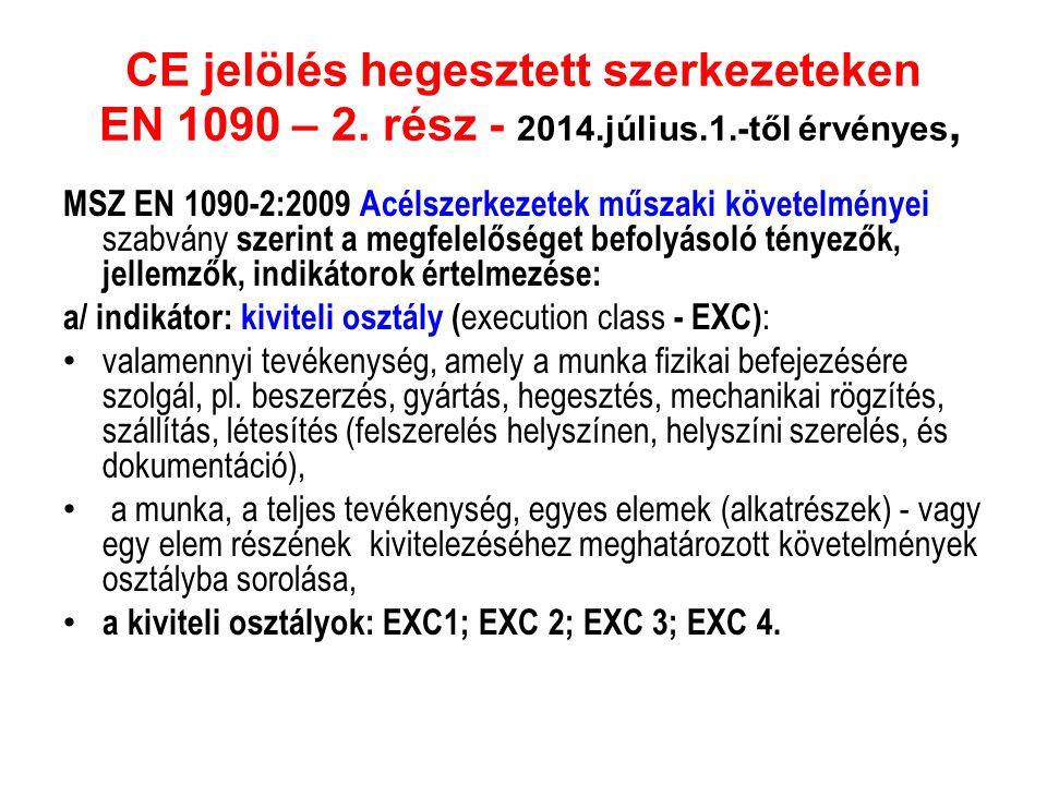 CE jelölés hegesztett szerkezeteken EN 1090 – 2. rész - 2014.július.1.-től érvényes,