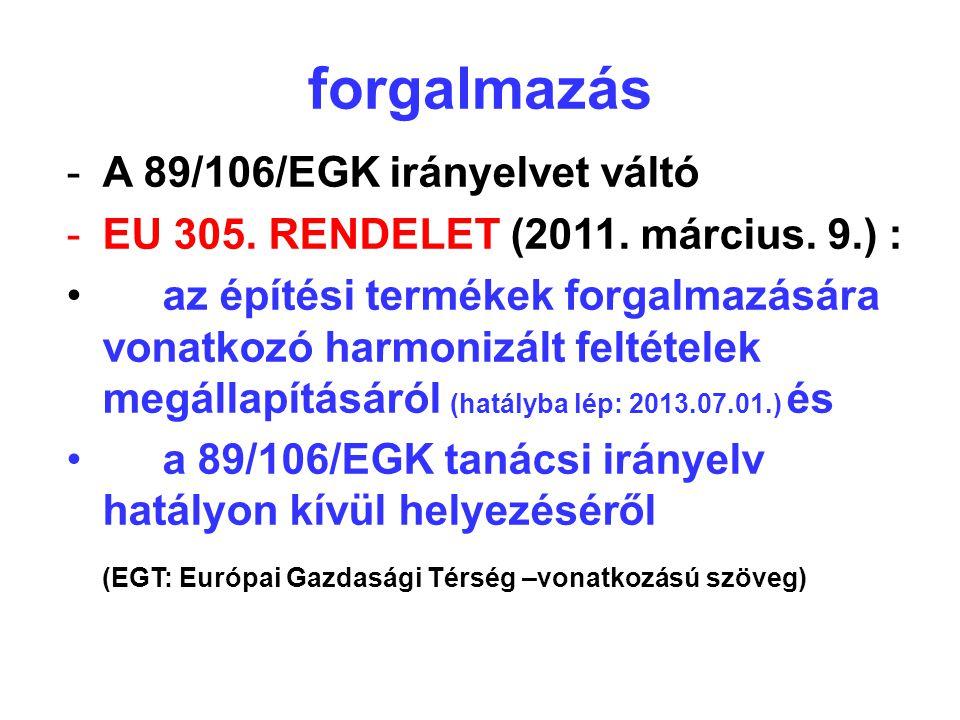 forgalmazás A 89/106/EGK irányelvet váltó