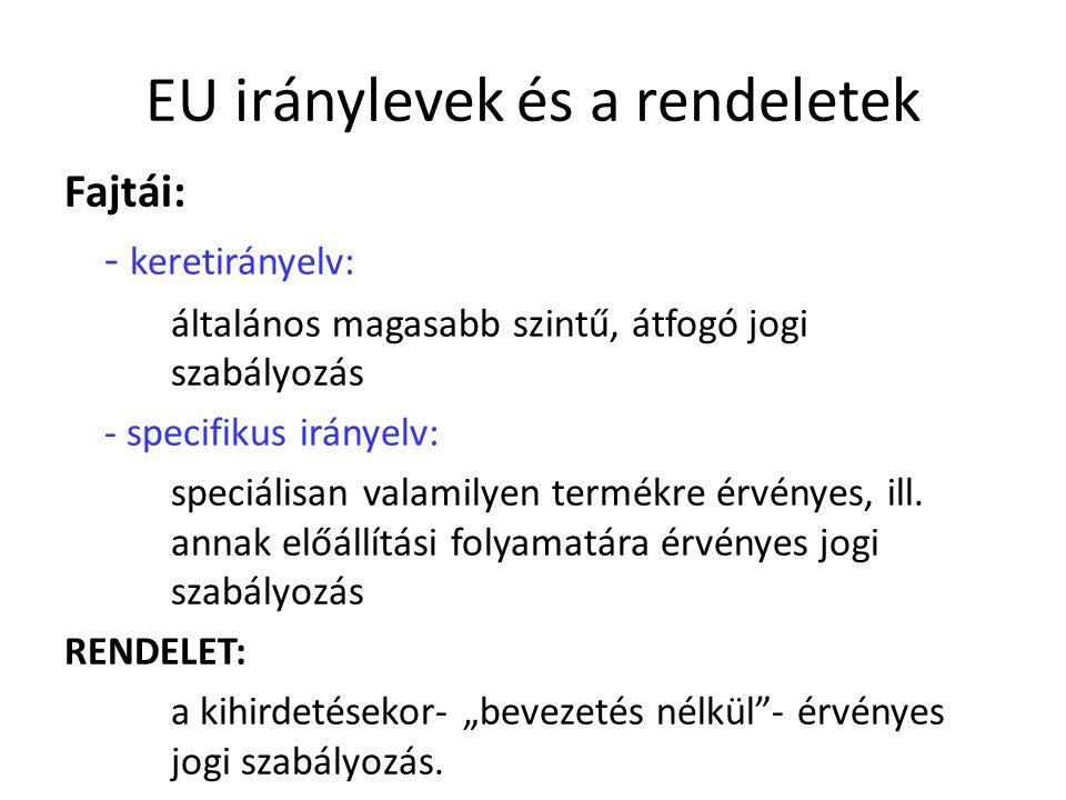 EU iránylevek és a rendeletek