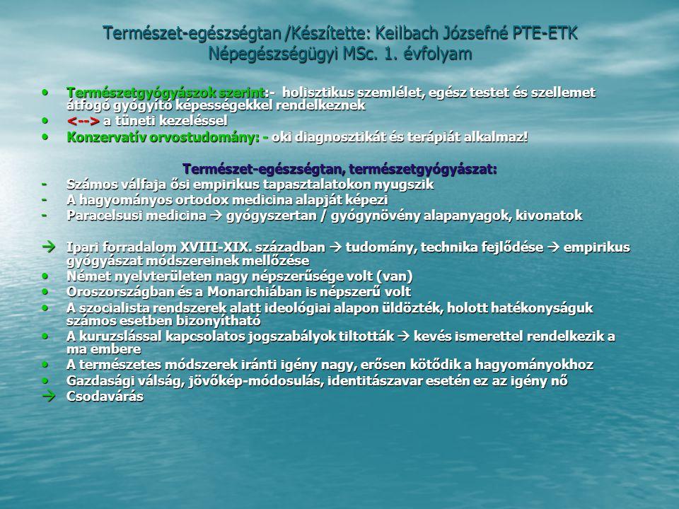 Természet-egészségtan, természetgyógyászat: