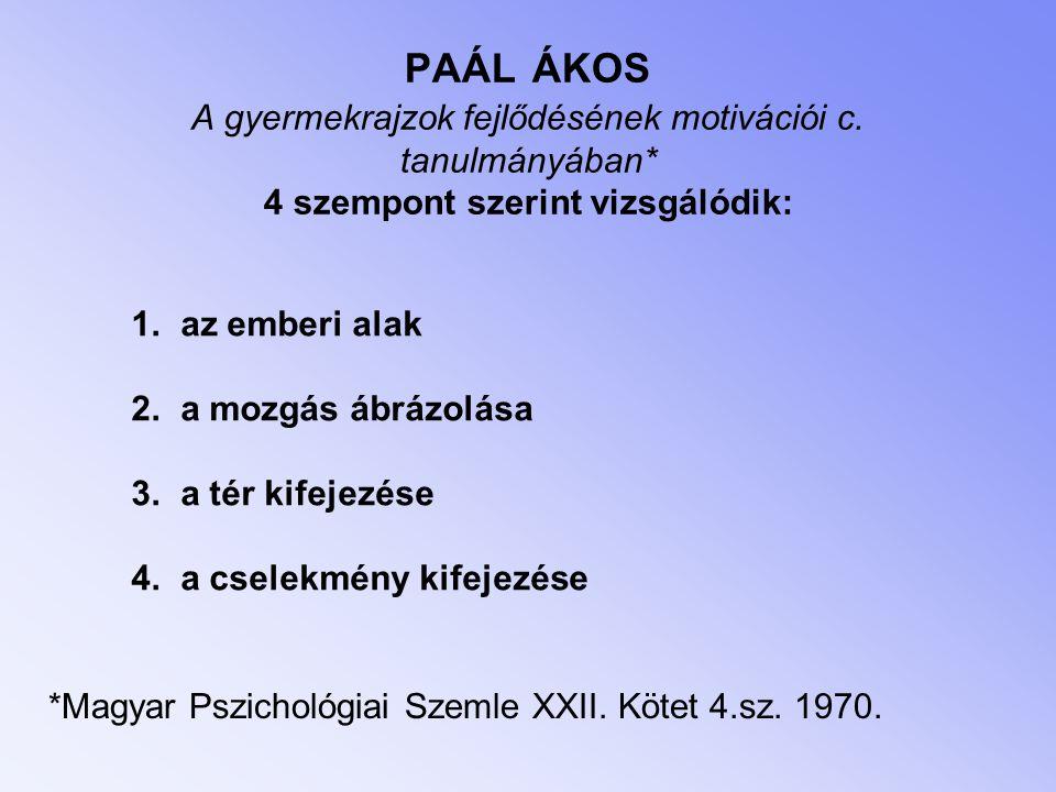 PAÁL ÁKOS A gyermekrajzok fejlődésének motivációi c. tanulmányában