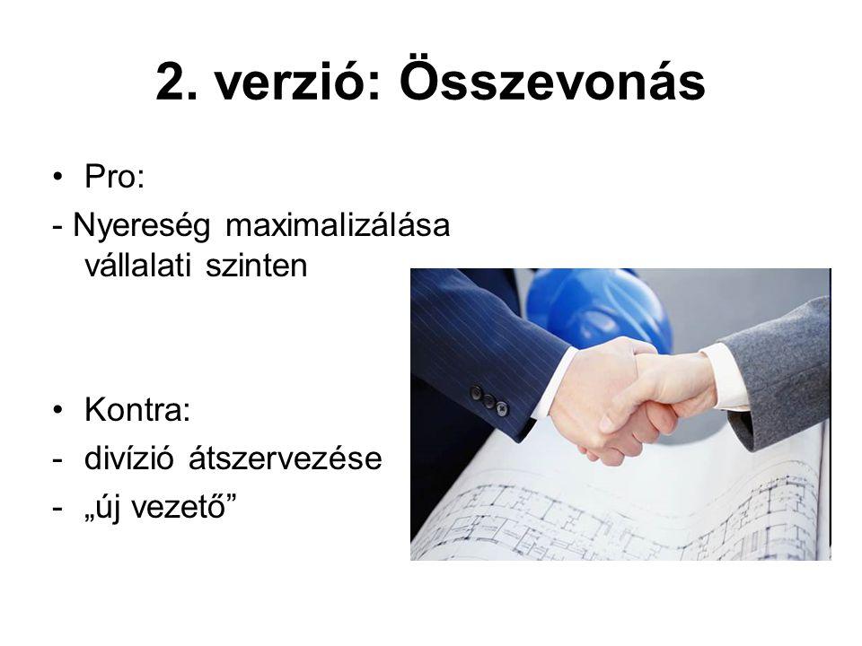 2. verzió: Összevonás Pro: - Nyereség maximalizálása vállalati szinten