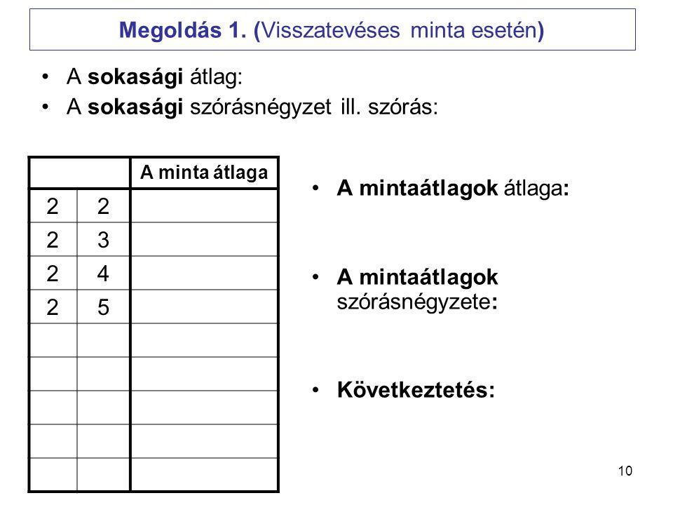 Megoldás 1. (Visszatevéses minta esetén)