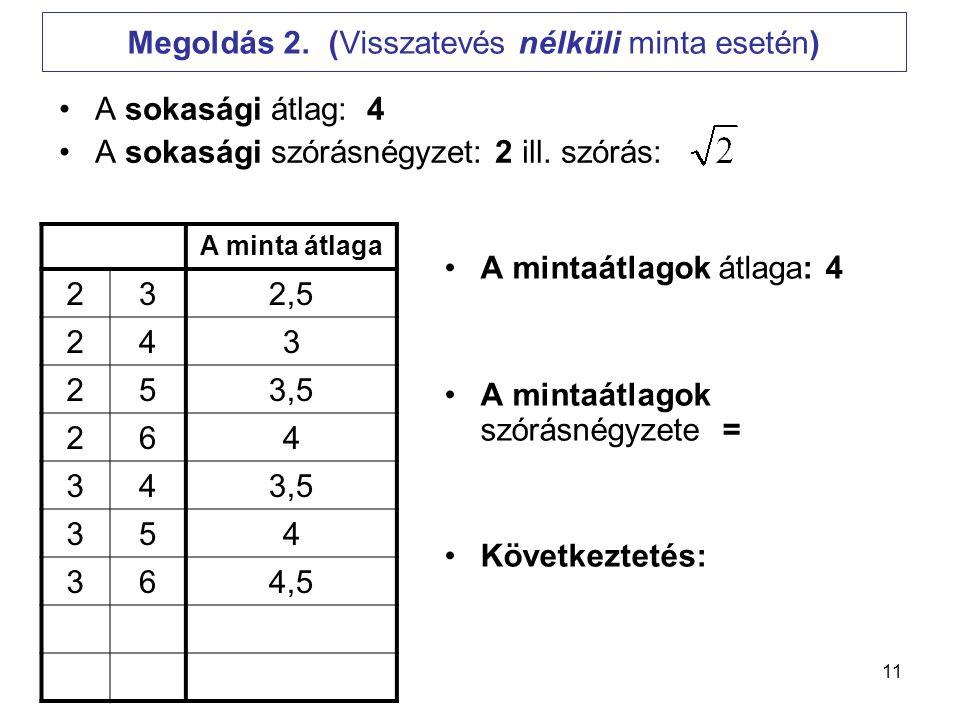 Megoldás 2. (Visszatevés nélküli minta esetén)