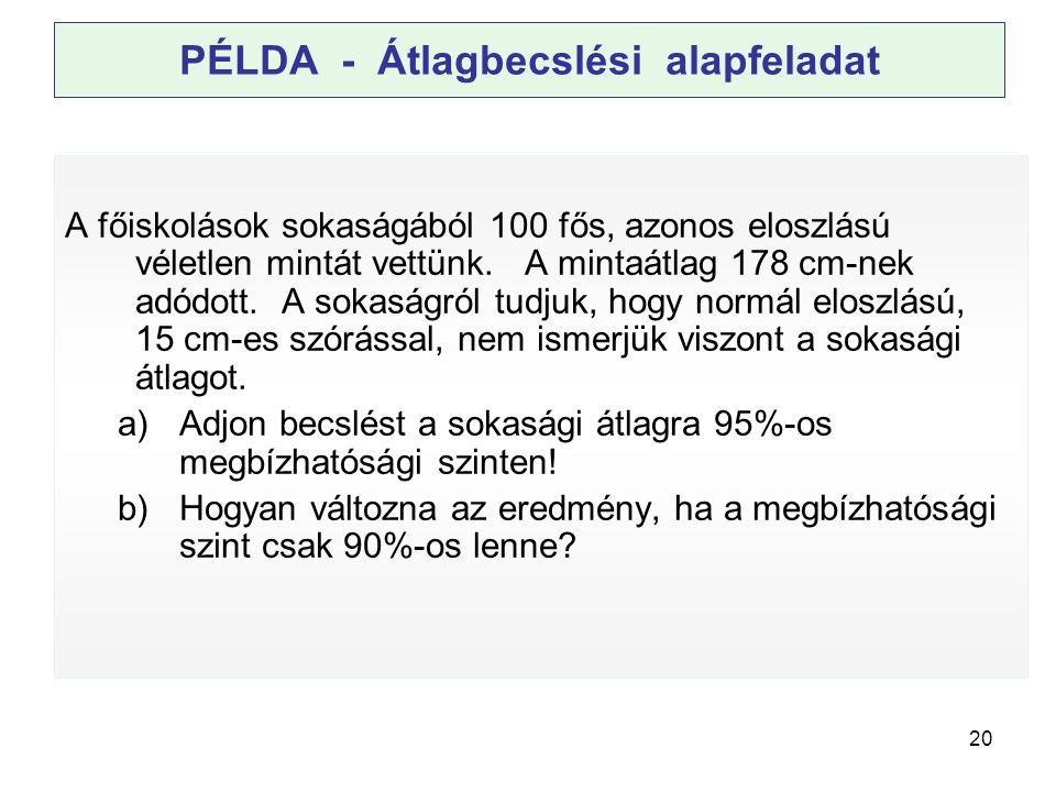 PÉLDA - Átlagbecslési alapfeladat
