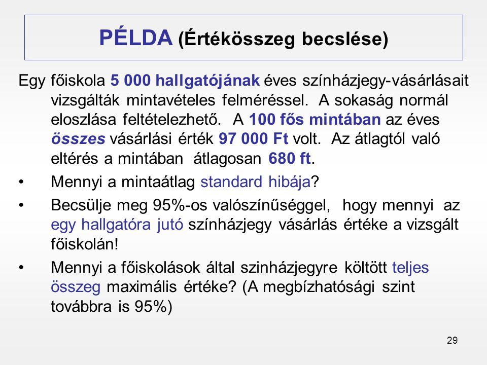 PÉLDA (Értékösszeg becslése)