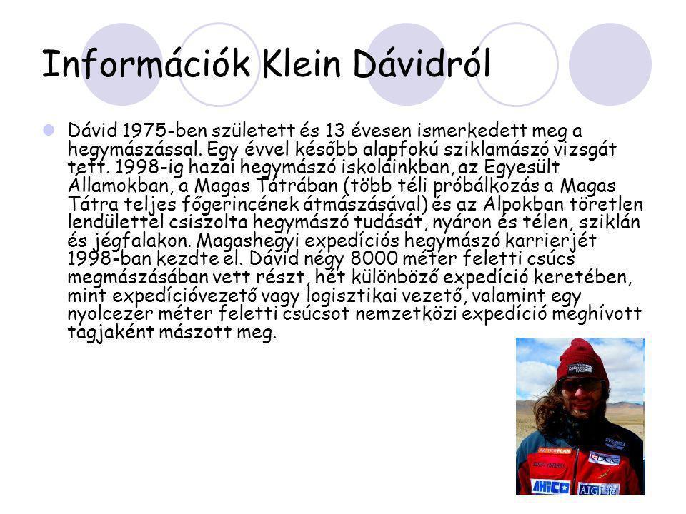 Információk Klein Dávidról