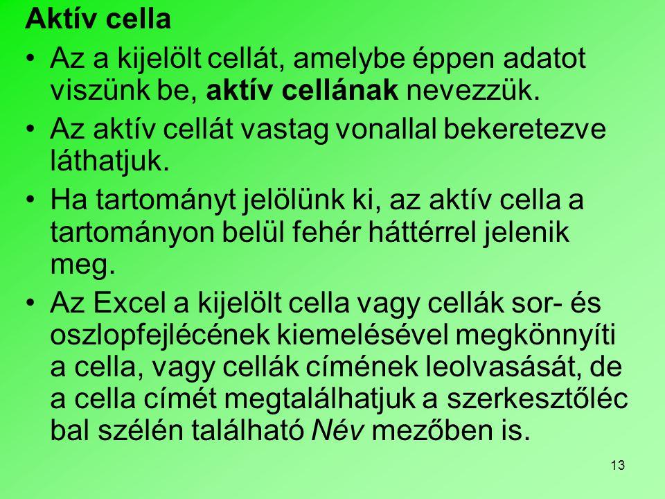 Aktív cella Az a kijelölt cellát, amelybe éppen adatot viszünk be, aktív cellának nevezzük. Az aktív cellát vastag vonallal bekeretezve láthatjuk.