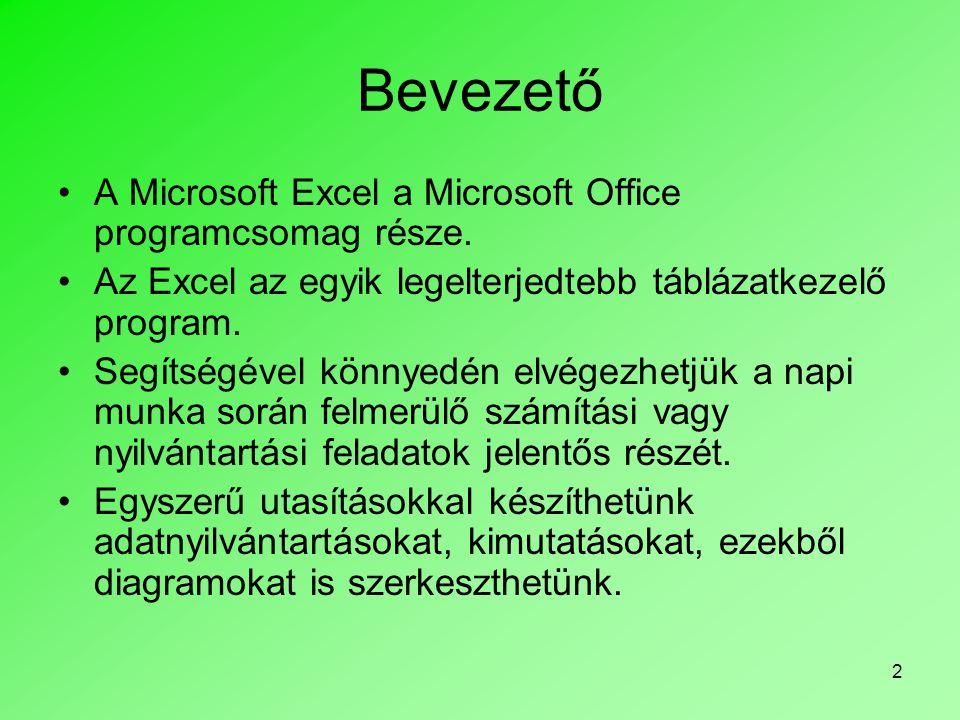 Bevezető A Microsoft Excel a Microsoft Office programcsomag része.