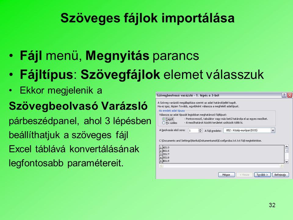 Szöveges fájlok importálása