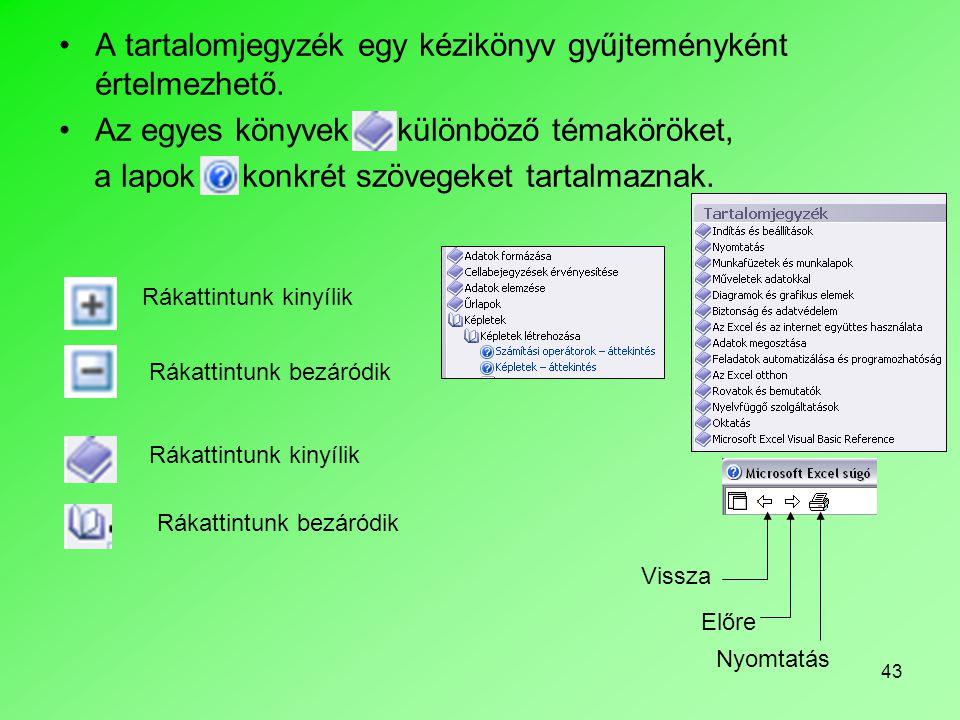 A tartalomjegyzék egy kézikönyv gyűjteményként értelmezhető.