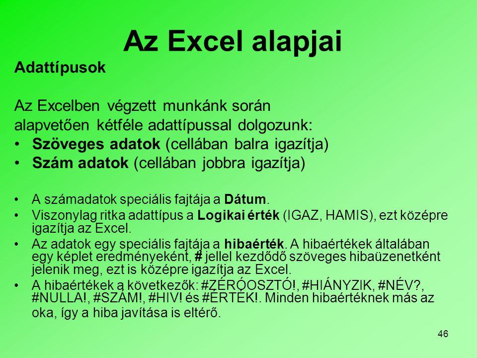Az Excel alapjai Adattípusok Az Excelben végzett munkánk során