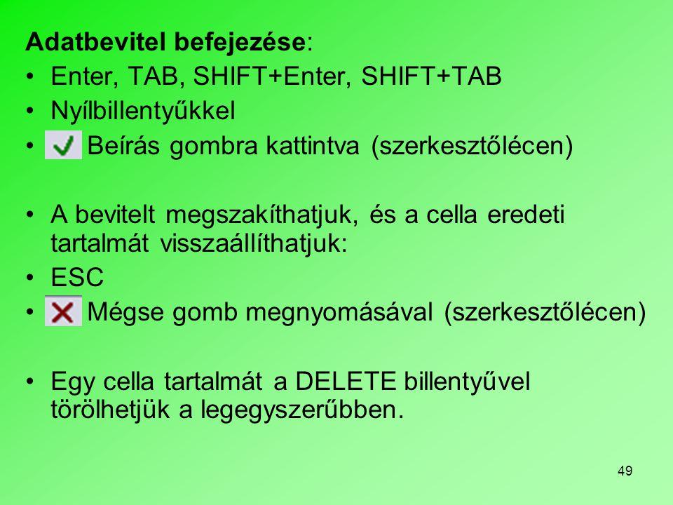 Adatbevitel befejezése:
