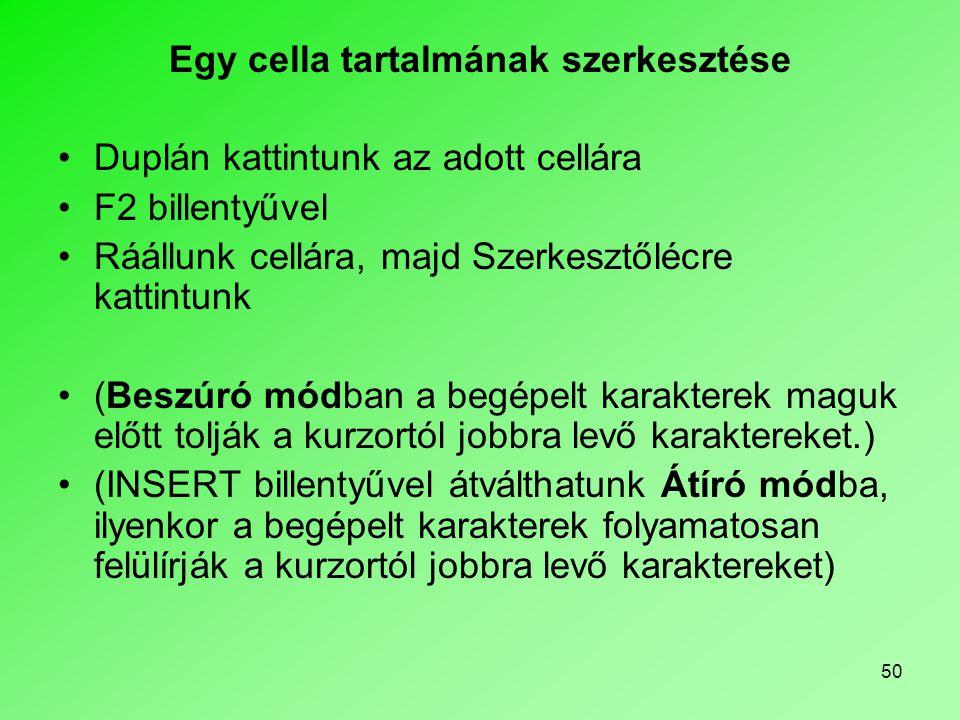 Egy cella tartalmának szerkesztése