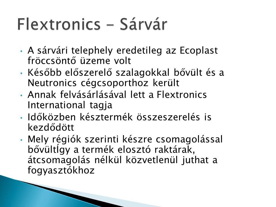 Flextronics - Sárvár A sárvári telephely eredetileg az Ecoplast fröccsöntő üzeme volt.