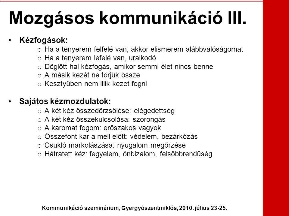 Mozgásos kommunikáció III.