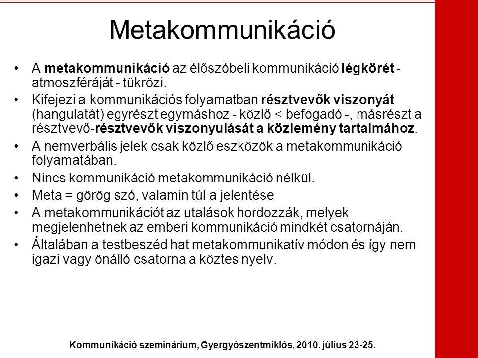 Kommunikáció szeminárium, Gyergyószentmiklós, 2010. július 23-25.