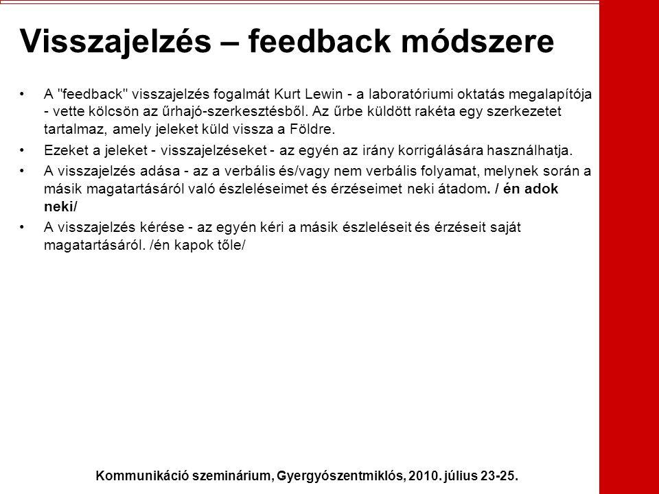 Visszajelzés – feedback módszere