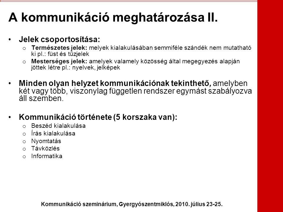 A kommunikáció meghatározása II.