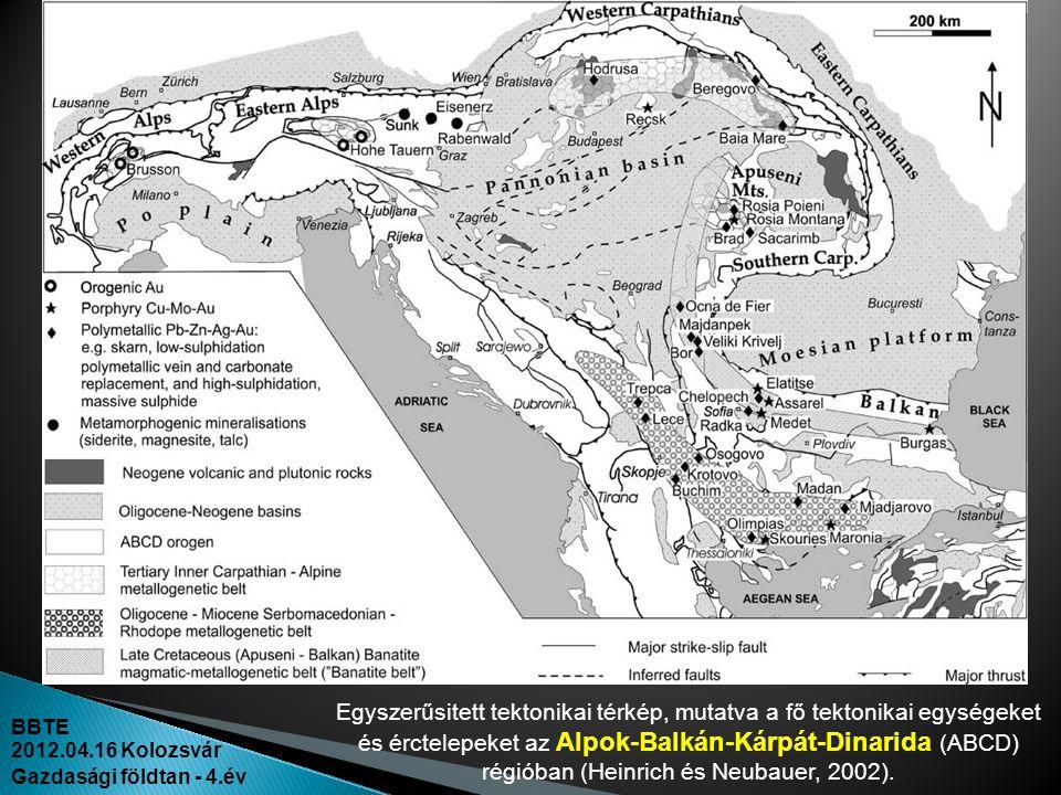 Egyszerűsitett tektonikai térkép, mutatva a fő tektonikai egységeket és érctelepeket az Alpok-Balkán-Kárpát-Dinarida (ABCD) régióban (Heinrich és Neubauer, 2002).