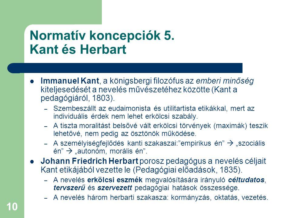Normatív koncepciók 5. Kant és Herbart