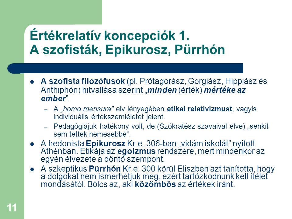 Értékrelatív koncepciók 1. A szofisták, Epikurosz, Pürrhón