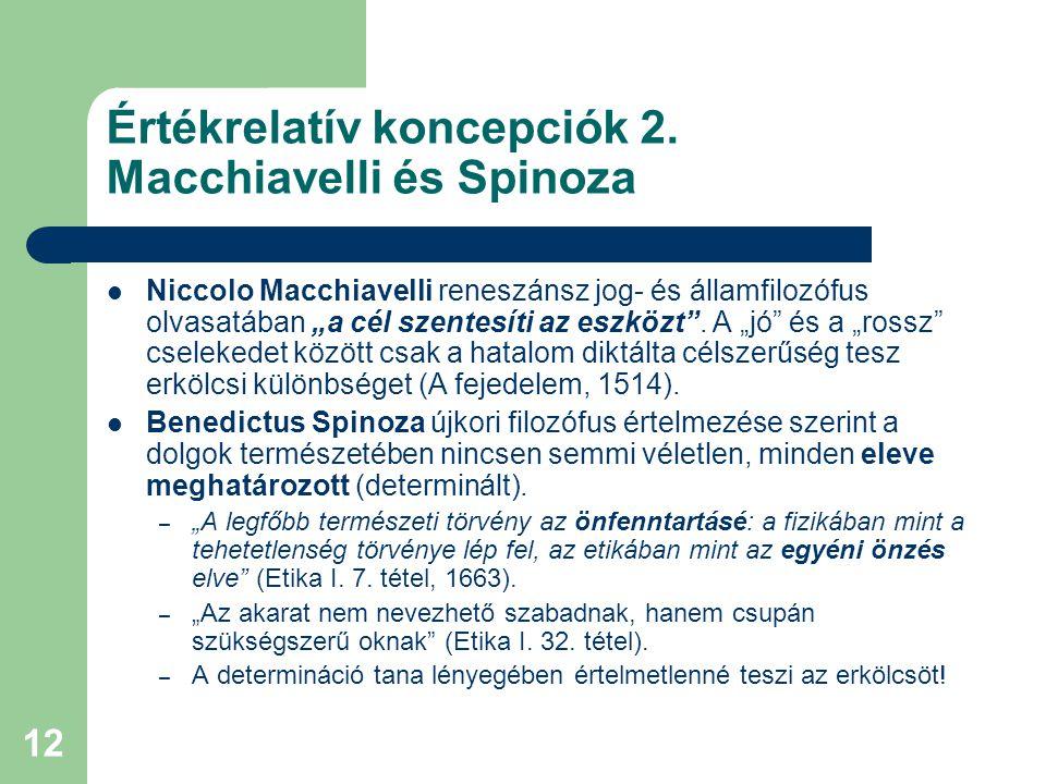 Értékrelatív koncepciók 2. Macchiavelli és Spinoza