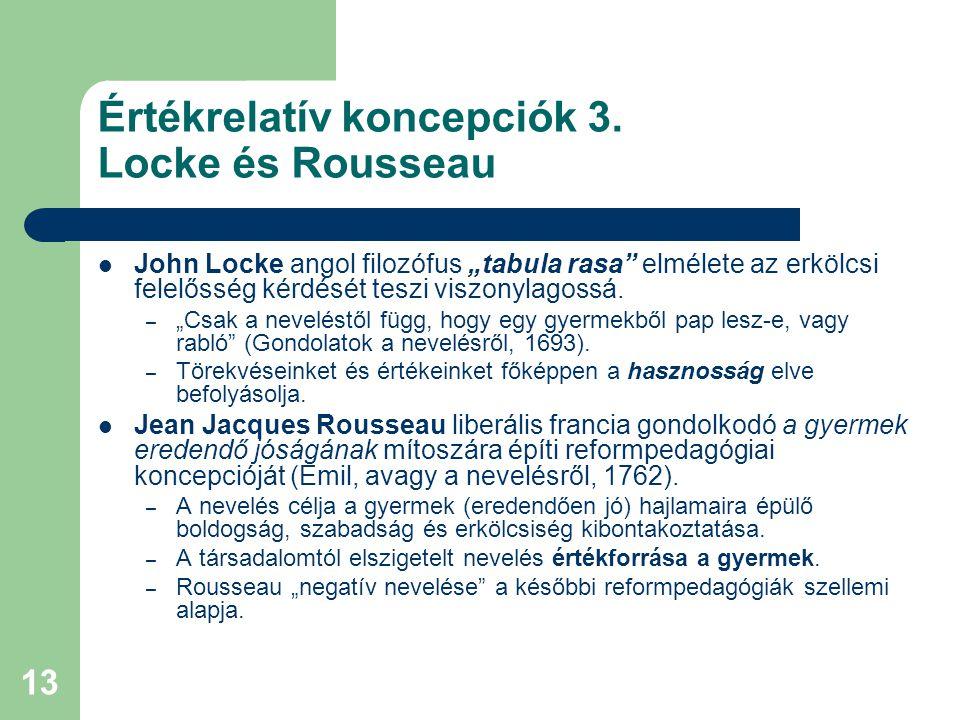 Értékrelatív koncepciók 3. Locke és Rousseau