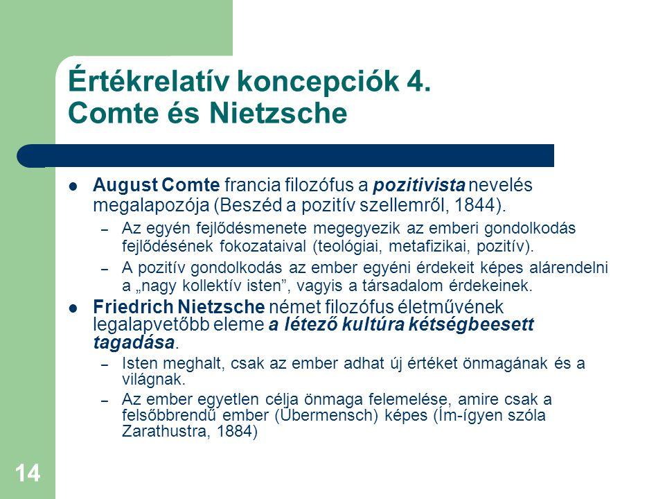 Értékrelatív koncepciók 4. Comte és Nietzsche