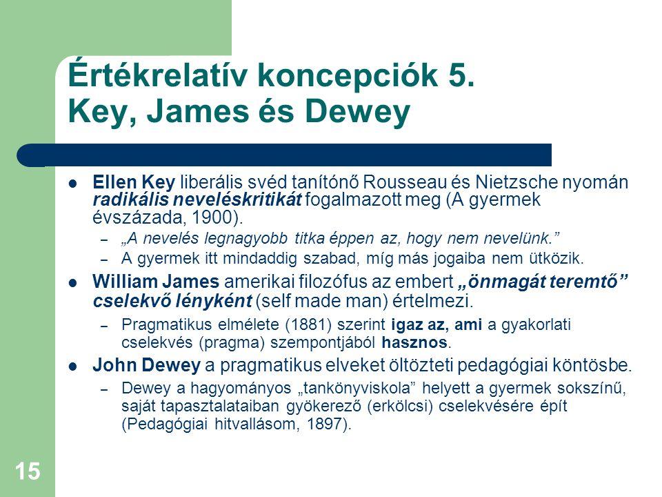 Értékrelatív koncepciók 5. Key, James és Dewey