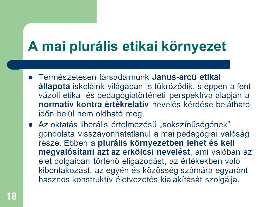 A mai plurális etikai környezet