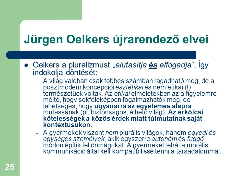 Jürgen Oelkers újrarendező elvei