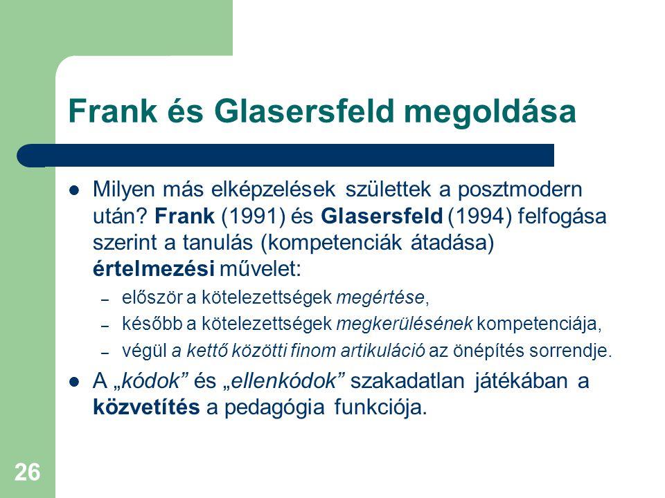 Frank és Glasersfeld megoldása