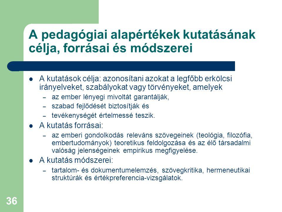 A pedagógiai alapértékek kutatásának célja, forrásai és módszerei
