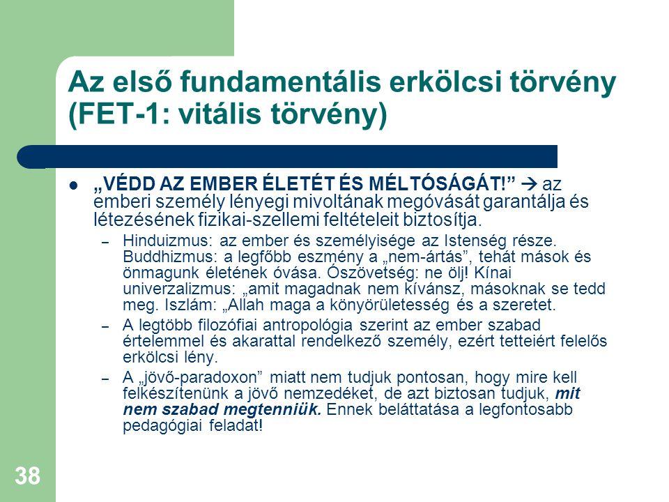 Az első fundamentális erkölcsi törvény (FET-1: vitális törvény)