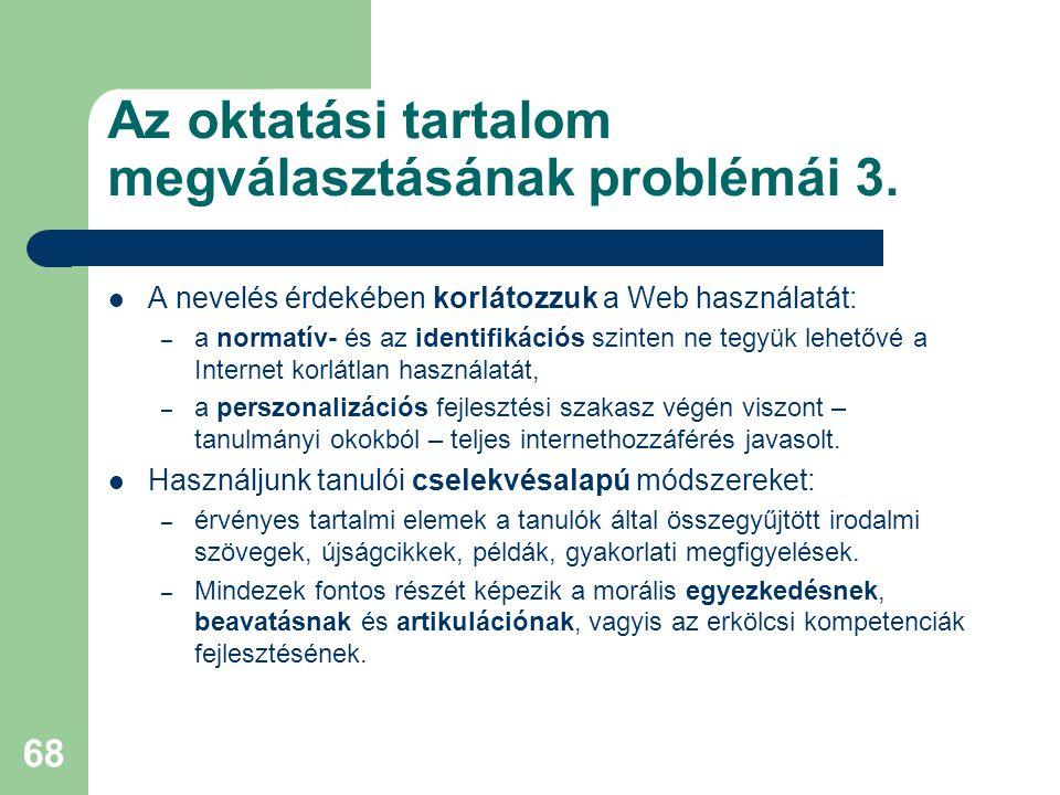 Az oktatási tartalom megválasztásának problémái 3.