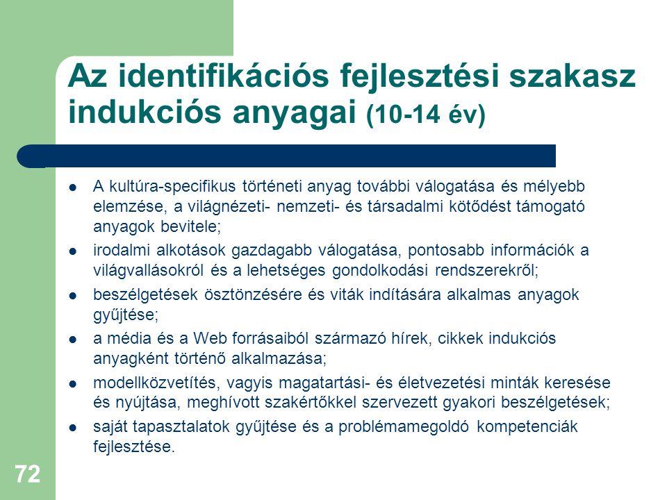 Az identifikációs fejlesztési szakasz indukciós anyagai (10-14 év)