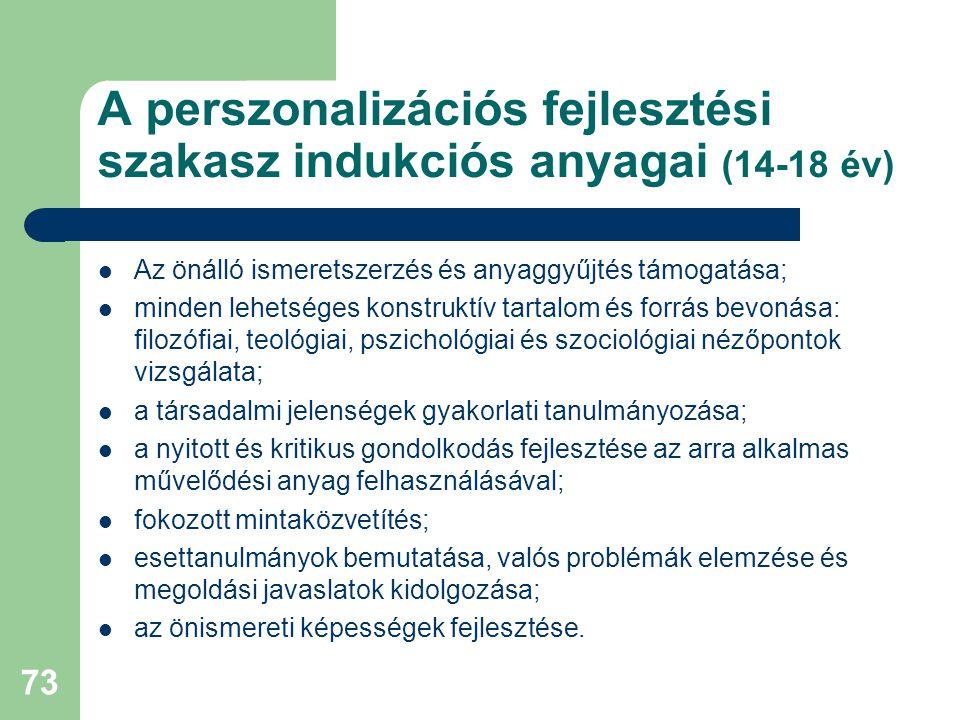 A perszonalizációs fejlesztési szakasz indukciós anyagai (14-18 év)