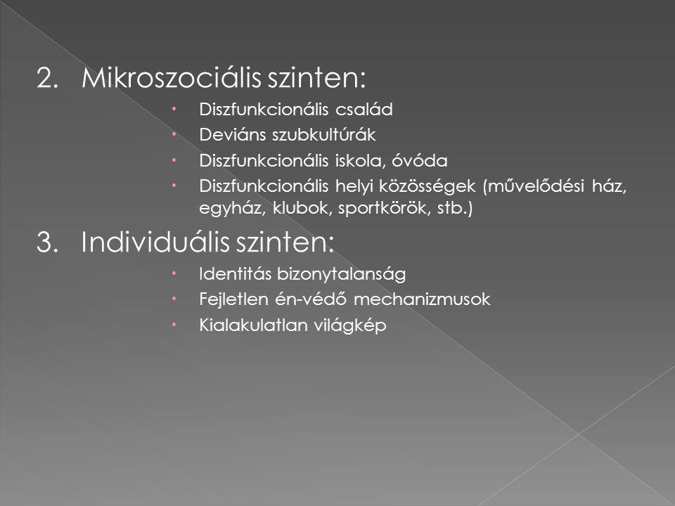2. Mikroszociális szinten: